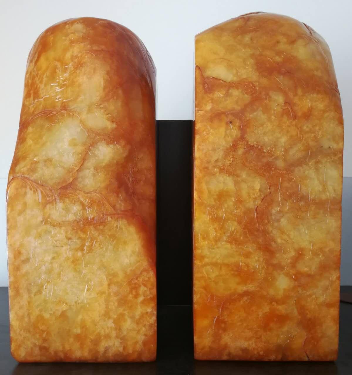 展览   寿山石(黄)巨型大印章一对
