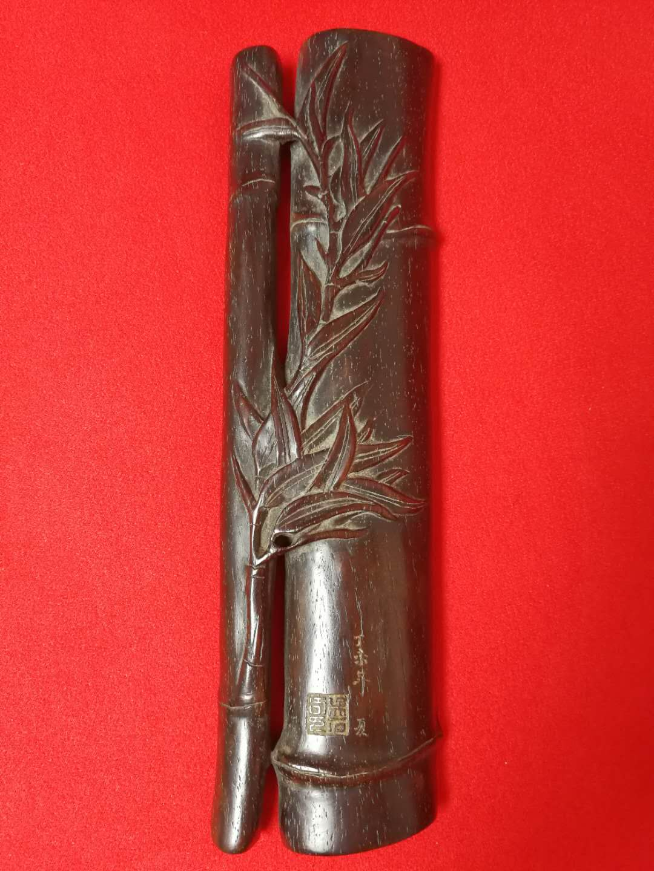 欣赏  清代海派著名画家吴石仙的心爱之物紫檀木镇尺
