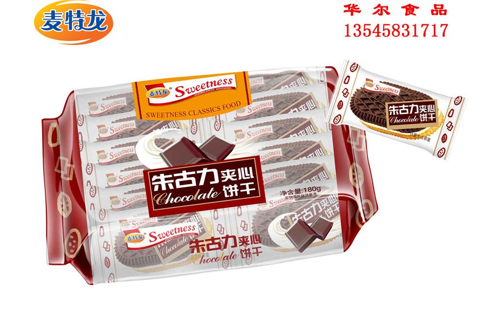 180g独立小包袋装亚虎手机客户端龙朱古力夹心饼干
