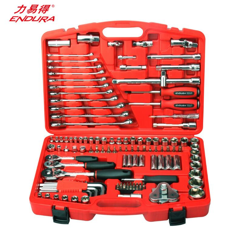 ENDURA/力易得<E1208>120+2件汽保工具套筒扳手工具套装修车工具