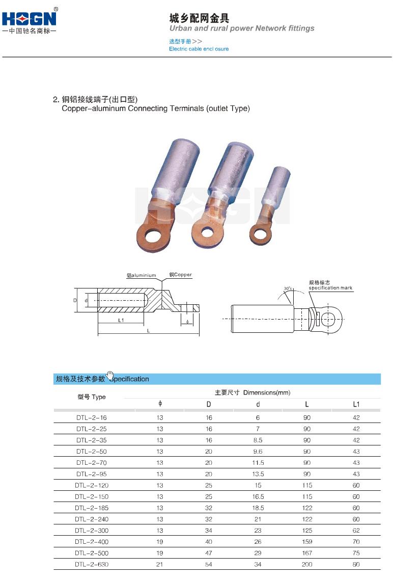 DTL铜铝接线端子(出口型)