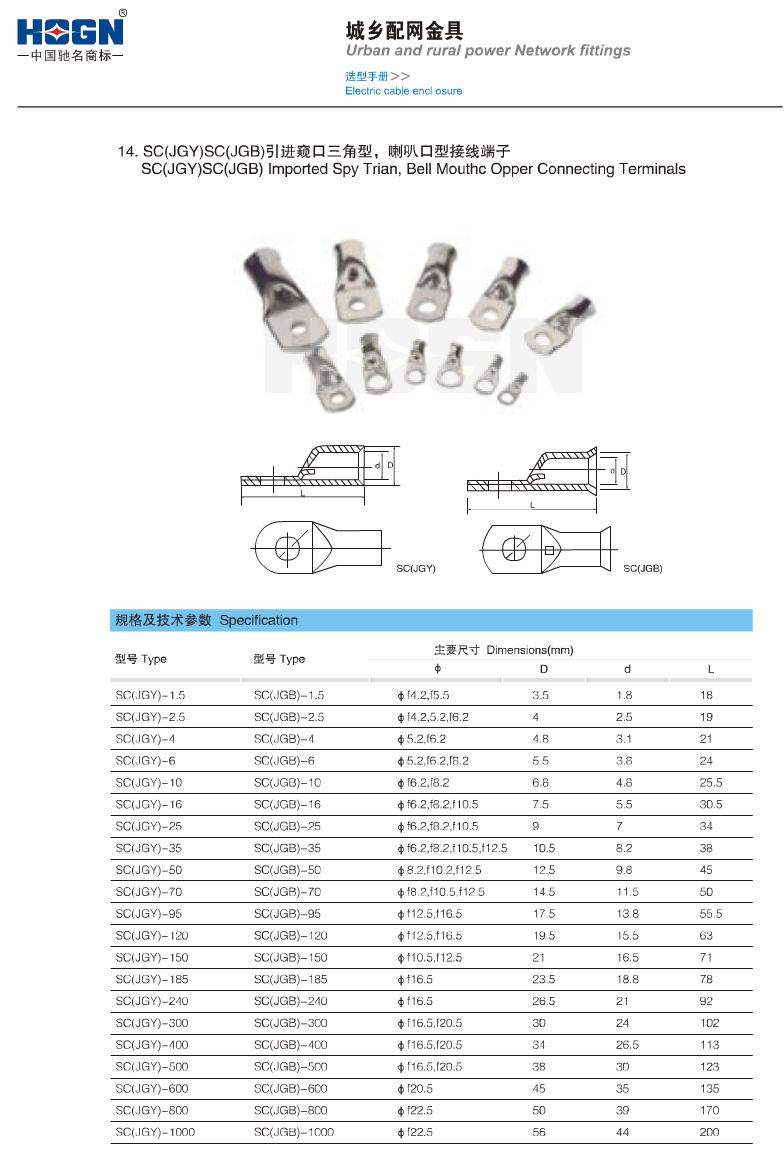 SC(JGY)SC(JGB)引进窥口三角型,喇叭口型接线端子