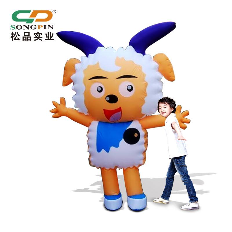 定做大型卡通吉祥物PVC充气广告模型移动行走公仔模型充气模