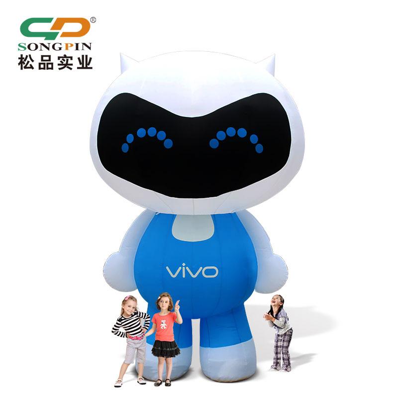 定做大型卡通吉祥物PVC充气广告模型移动行走VIVO公仔模型充气模