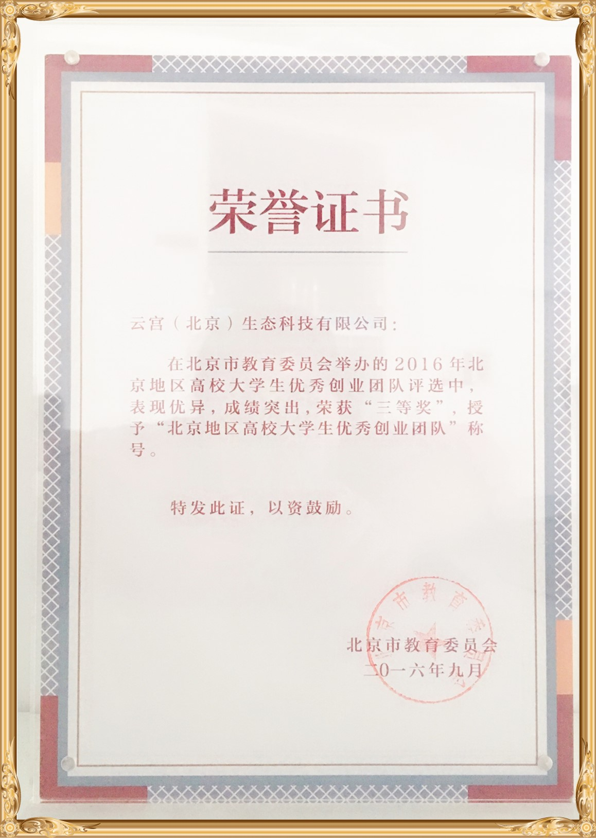 """北京市教委颁发""""北京地区高校大学生优秀创业团队""""称号"""