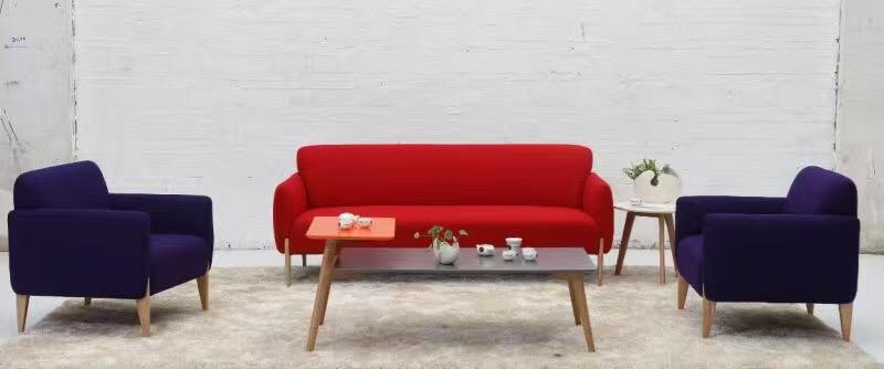 蓝红布艺沙发套组