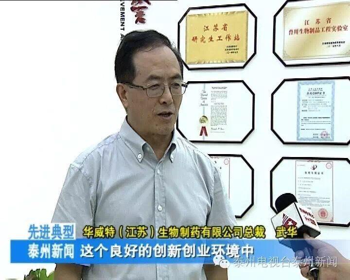 華威特董事長武華博士接受泰州電視臺采訪