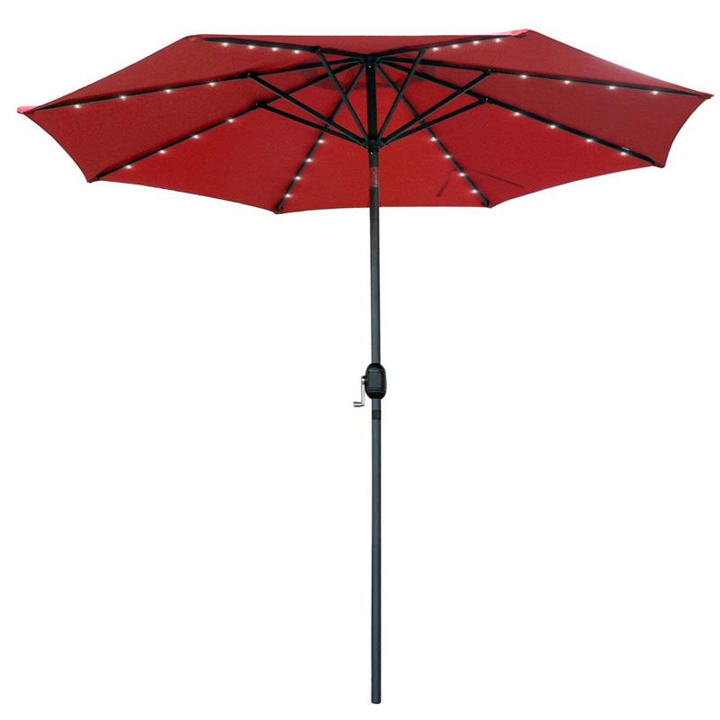 广西快3中奖规则 LED灯珠伞中柱庭院伞M19003酒红