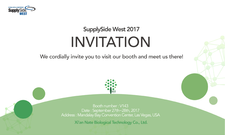 SupplySide West 2017 Invitation – Nate Biotech Booth No. V143