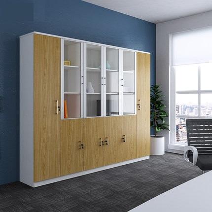 多用途木质带玻门文件柜