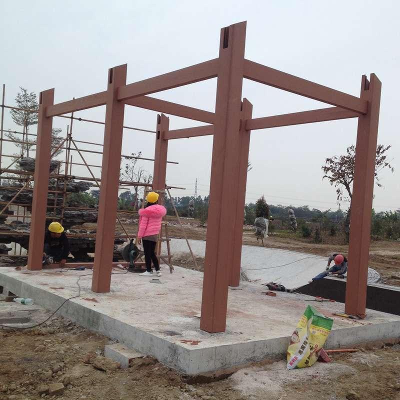 木塑工程安装 塑木施工 户外塑木围栏安装 广东木塑地板材料施工