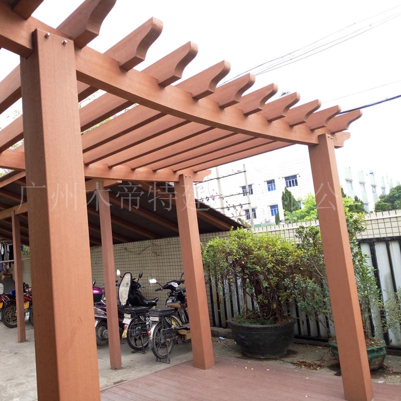 木塑房顶葡萄架 凉亭柱子200*200大立柱塑木户外走廊木塑花架围栏