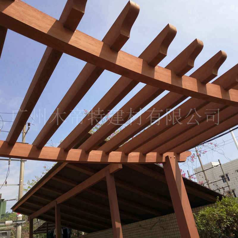 木塑花架凉亭材料 木塑横梁180*80花架刀片塑木厂家 景观木塑横梁