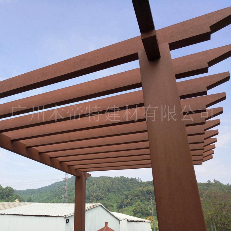 木塑花架围栏立柱 塑木140*140立柱 木塑葡萄架走廊花架 景观木塑