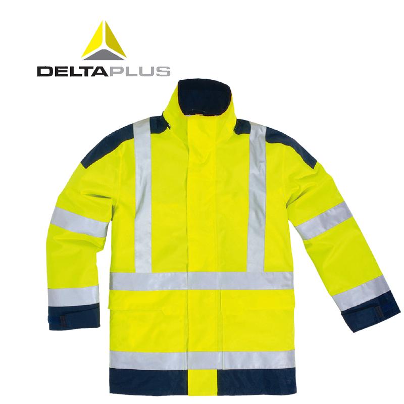 代爾塔PU戶外搶險救援工地帶反光條風雪防凍衣防水熒光防寒服