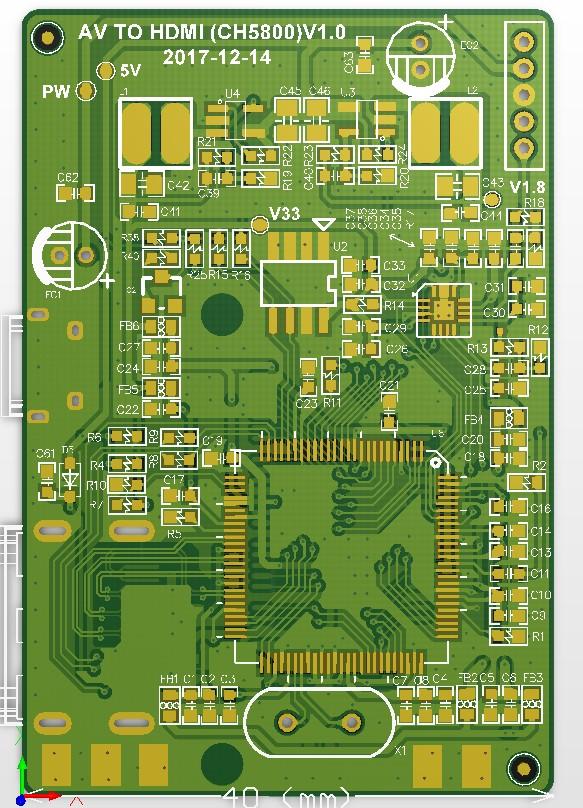CH5601 AV轉HDMI方案 支持遊戲機AV輸入 低成本方案