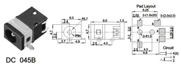 DC045BФ1.3 3.7(9*6*4.7)贴片DC电源插座