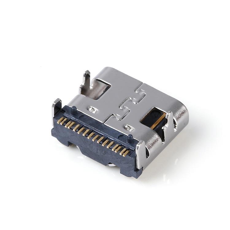 USB 3.1 TYPE-C插座 16Pin L=7.3 四脚有柱 后贴SMT