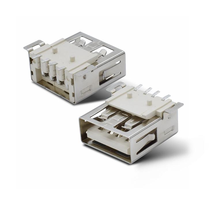 USB母座 AF2.0平口 90°13.7全贴SMT 直边