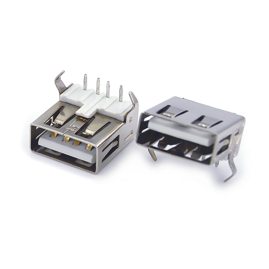 USB母座 AF2.0平口 90°14.0后插弯脚DIP 直边有盖
