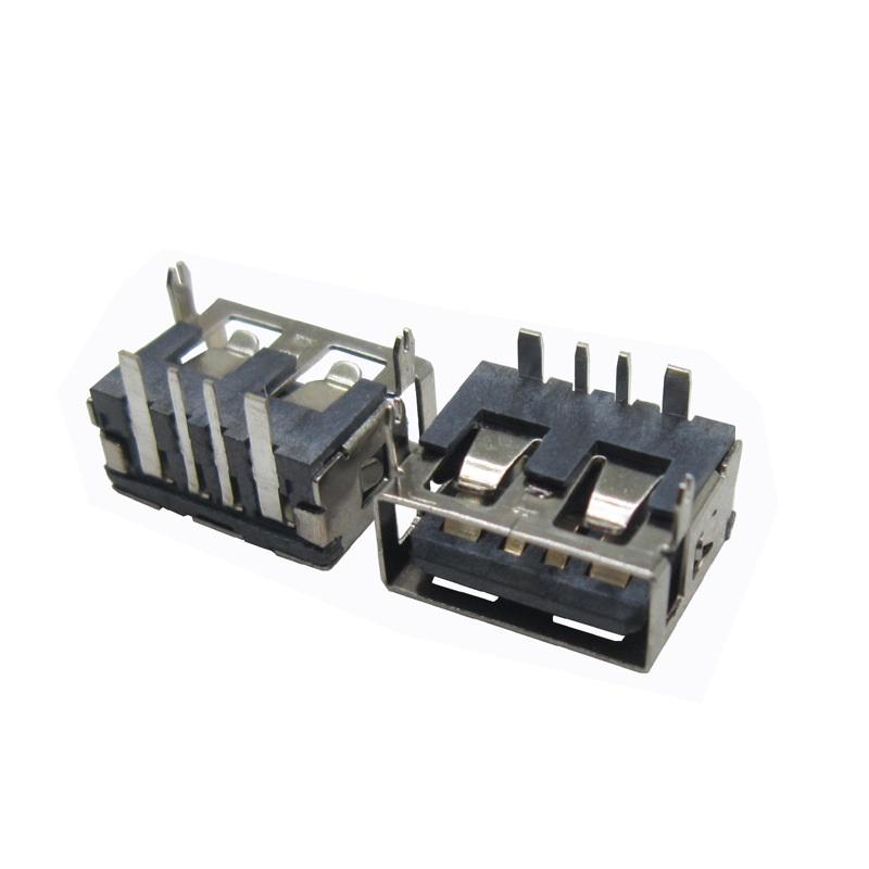 USB母座 AF2.0平口 90°10.0前两脚DIP H6.3 大电流 直边