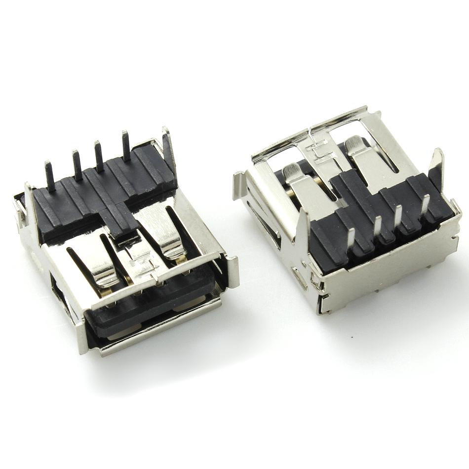 USB母座 AF2.0卷口 90°14.0后插直脚DIP 卷边 有盖