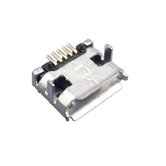 MICRO USB母座 90°卷口中两脚插7.15后贴长针SMT 有柱卷边
