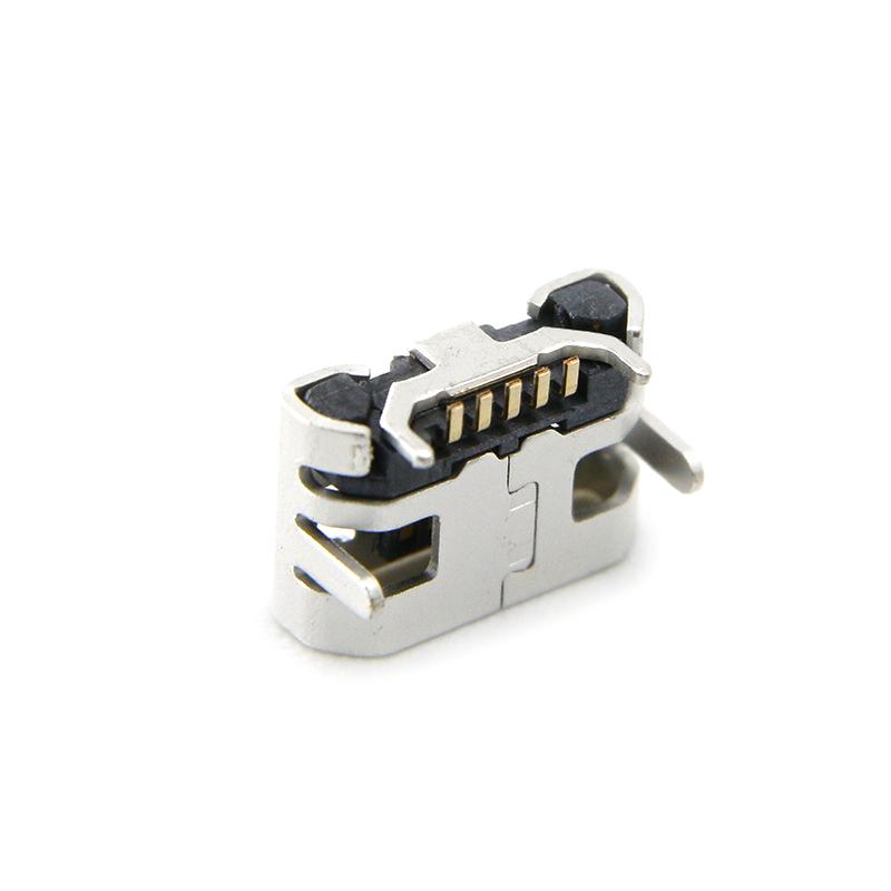 MICRO USB母座 90°平口小牛角4.85-7.2四脚插后贴 无柱直边