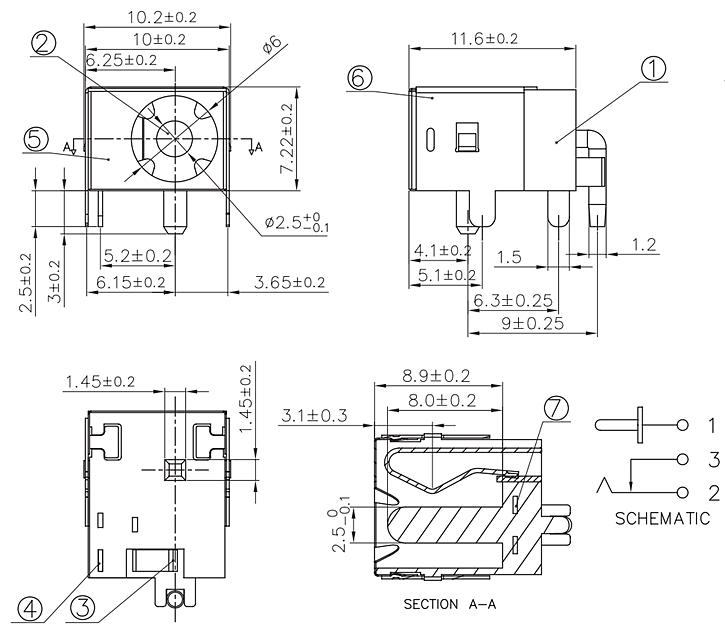 DC044LФ2.0/2.5 6.0(11.6*10.2*7.2)大电流DC电源插座 金属壳
