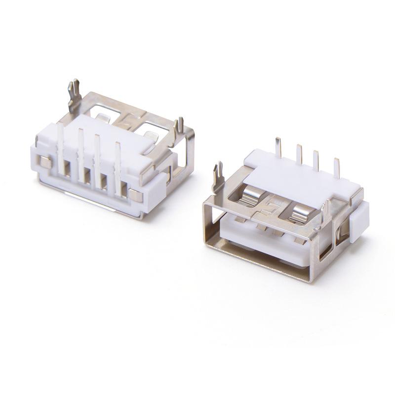 USB母座 AF2.0平口 90°10.0前两脚DIP H6.3 直边