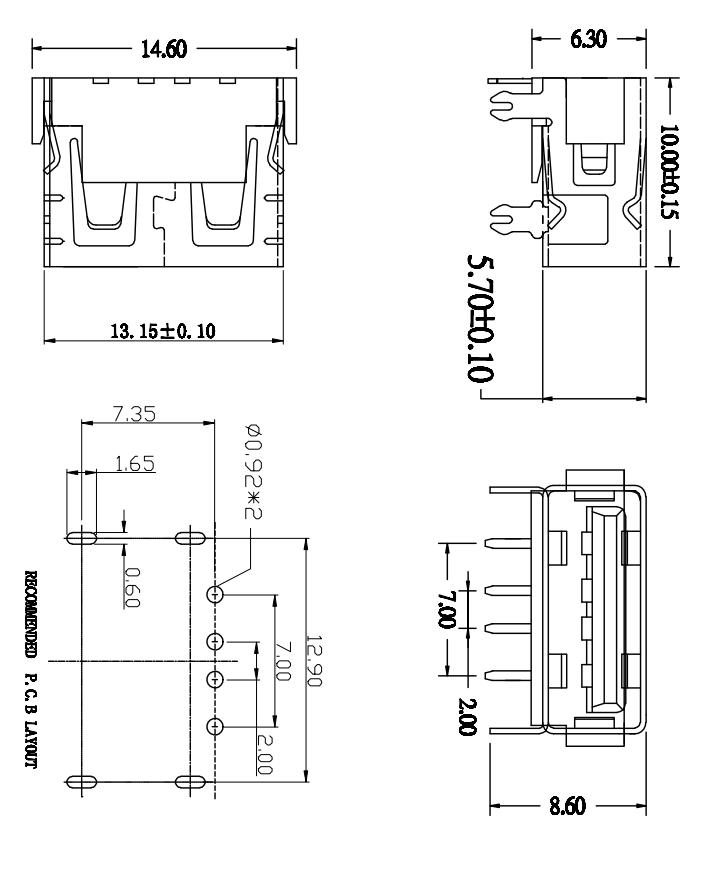 USB母座 AF2.0平口 90°10.0四插脚后贴 H6.3 直边
