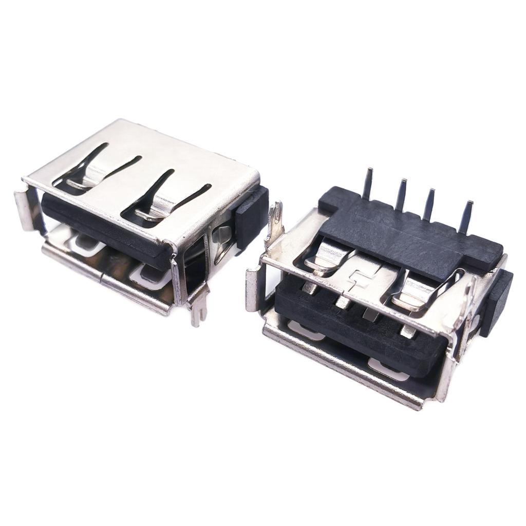 USB母座 AF2.0卷口 90°10.0前两脚DIP H6.3 卷边