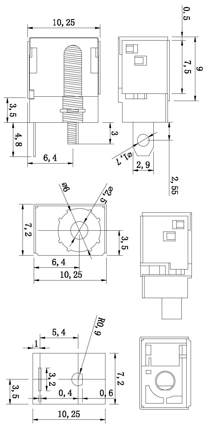 DC044ZФ2.0/2.5 6.0(12.5*10.2*7.2)大电流DC电源插座 金属壳