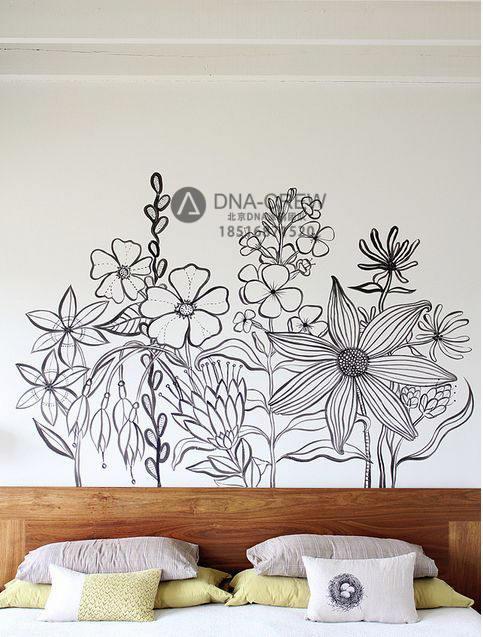 国外一组非常简约的黑白装饰墙绘作品插图彩绘墙