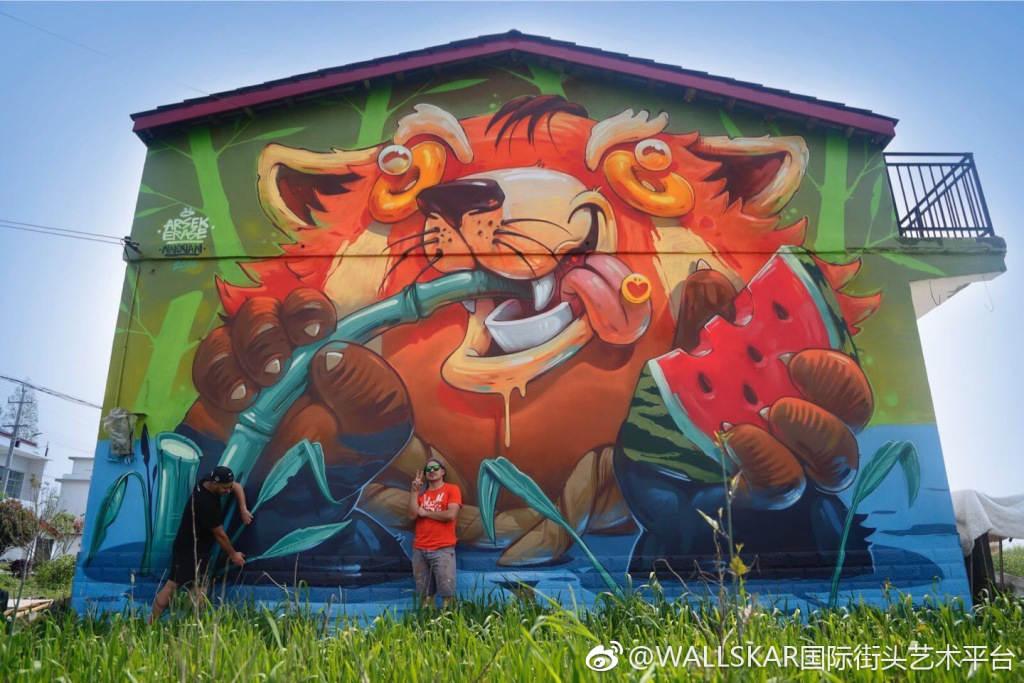 Wallskar国际涂鸦艺术节来自各国涂鸦艺术家涂鸦陆续完成了自己的作品