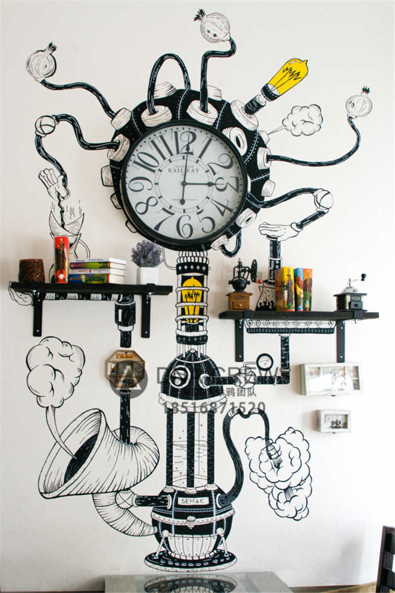 北京专业手绘墙绘团队复古黑白缝纫机钟表创意涂鸦手绘墙