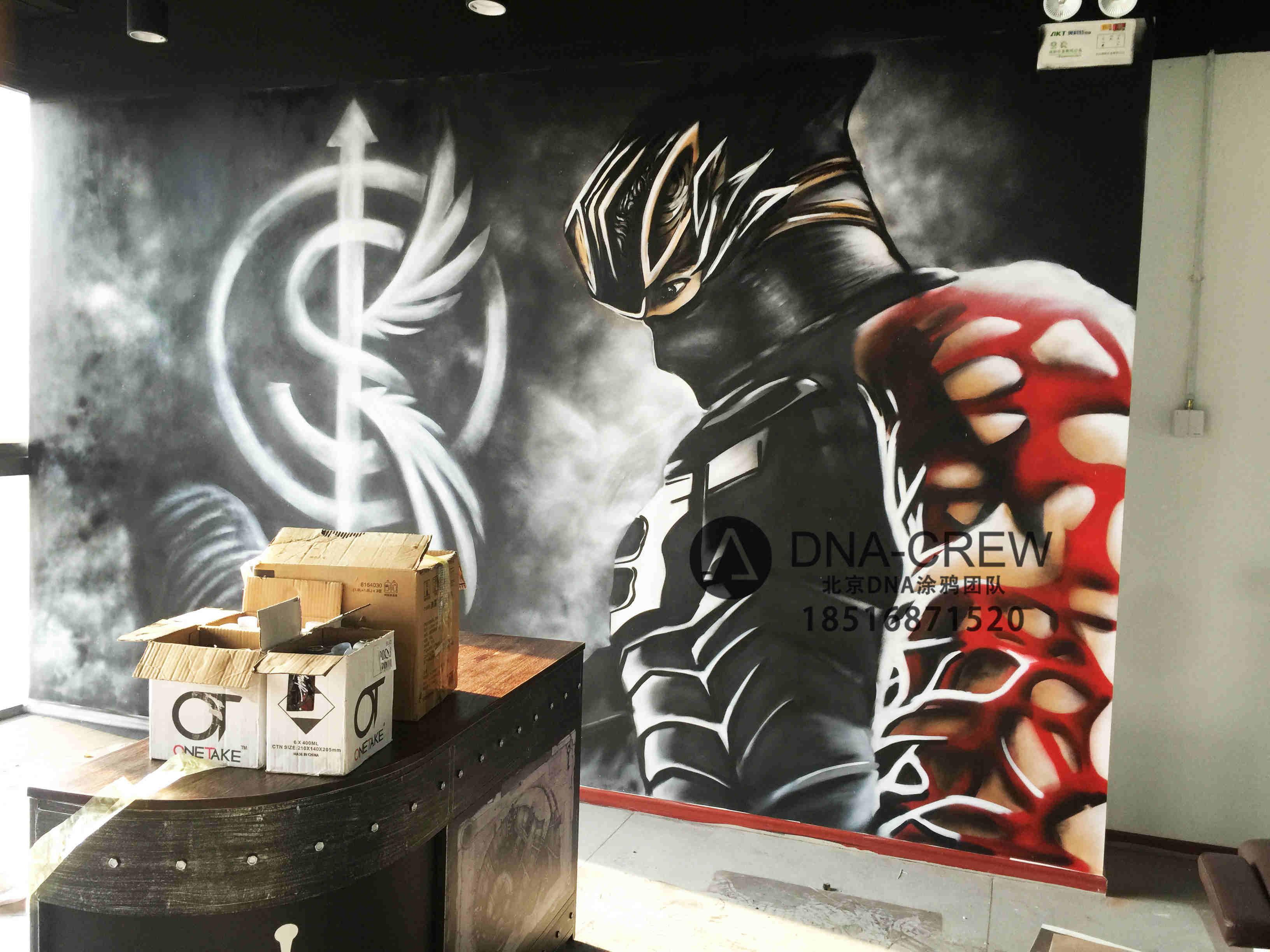 北京dna街头涂鸦团队-绿地缤纷城私人健身工作室写实涂鸦人物_3d立体画_3d立体涂鸦