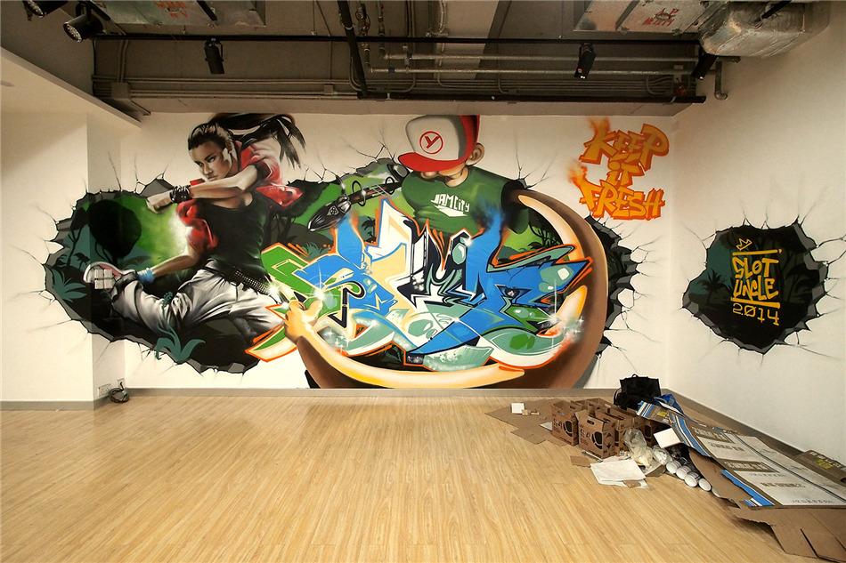 北京DNA涂鸦--街舞教室立体涂鸦墙
