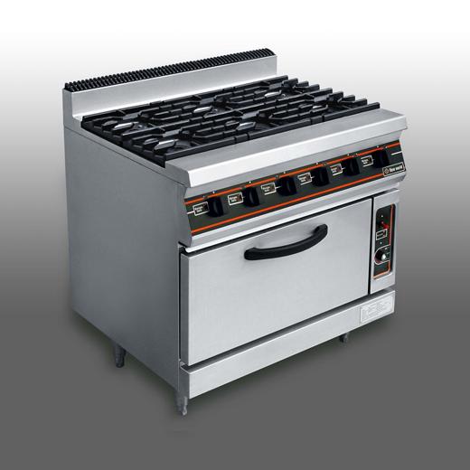 6-burner gas range with oven under