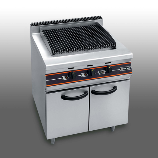 Gas lava rock chargrill with cabinet under