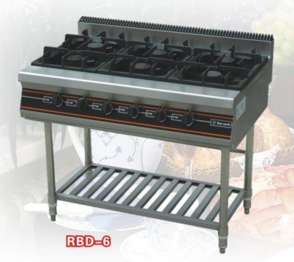 6-burner gas range with shelf under