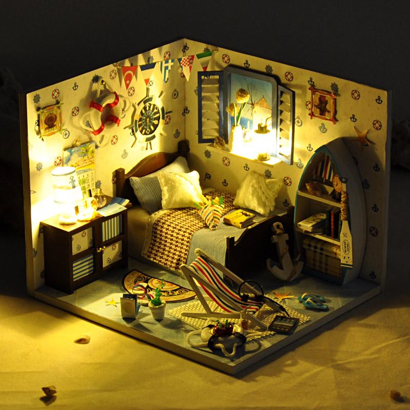 diy小屋夏之海手工制作小房子模型拼装女孩玩具创意生日礼物女生