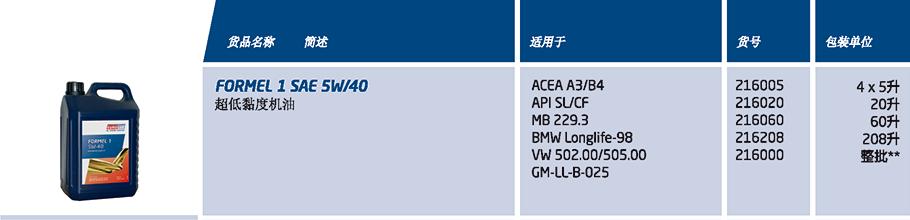 Formel 1 SAE 5W/40