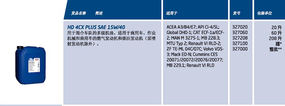 HD 4CX PLUS SAE 15W-40