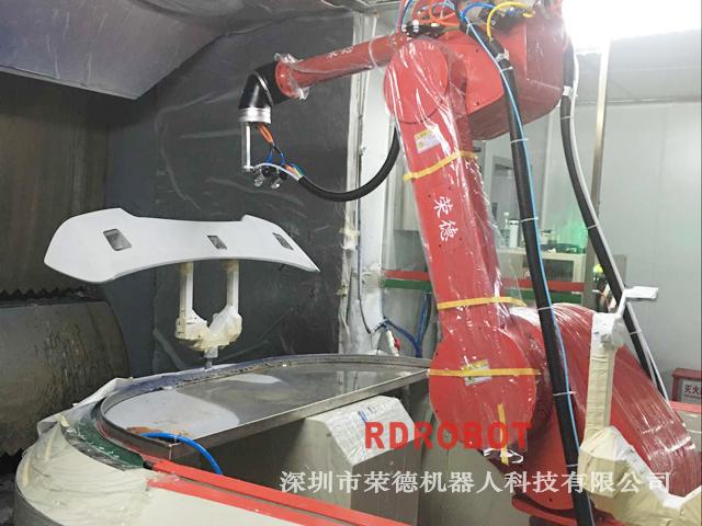 汽车尾翼机器人喷漆珍珠白