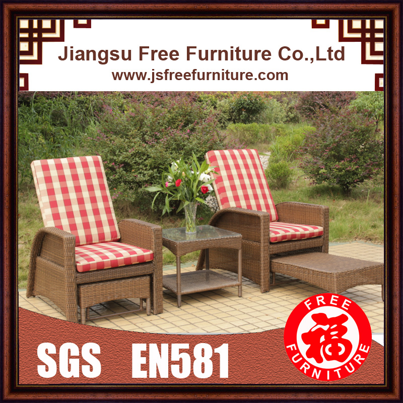 Round Folding Dining Table, Ff15029 Aluminum Wicker Chaise Lounge Set Outdoor Furniture Garden Furniture