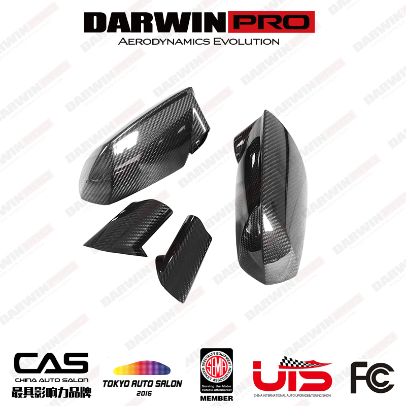 DarwinPRO OEM Style Dry Carbon Fiber Mirror Cover Replacement For 2011-2016 Lamborghini Aventador LP700 Coupe/Roadster