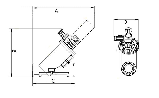不锈钢全自动自清洗过滤器尺寸图
