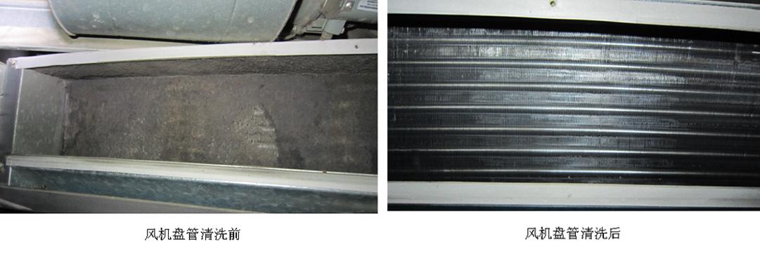 中央空调风机盘管清洗前后对比图