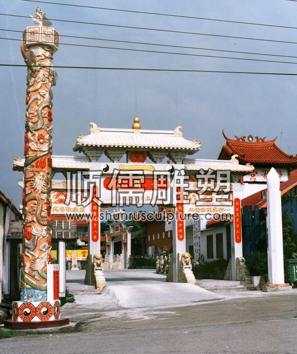 顺儒雕塑-牌楼工程-008-台湾龙湖宫